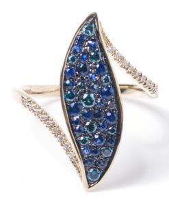 14k SAPPHIRE & BLUE DIAMOND RING Maddaloni Jewelers Huntington NY Long Island Jewelery