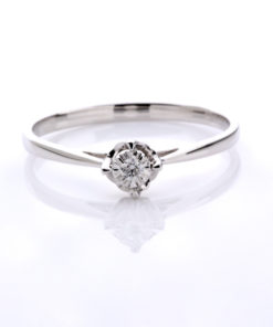 14k DIAMOND SOLITAIRE CATHEDRAL RING .03 ct Maddaloni Jewelers Huntington NY