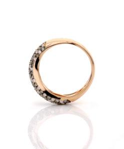 14k BROWN & WHITE PAVE DIAMOND CURVY BAND RING Maddaloni Jewelers Long Island Jewelry