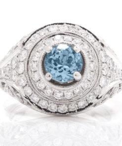 14k DIAMOND & AQUAMARINE RING Maddaloni Jewelers Long Island Jewelry