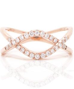 14k LOOPED CRISS CROSS DIAMOND RING