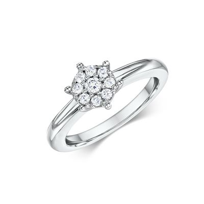 14k Solitaire Diamond Cluster Engagement Ring 0.21 ct