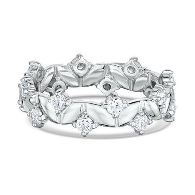 This uniquely designed 14k Diamond Anniversary Ring features 16 round diamonds 0.050ct Maddaloni Jewelers