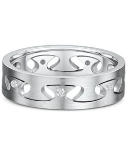 14k White Gold Diamond Mens Ring 0.020 ct
