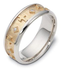 14k Two Tone Diamond Mens Ring Featuring 7 Round Cut Diamonds 0.010 ct