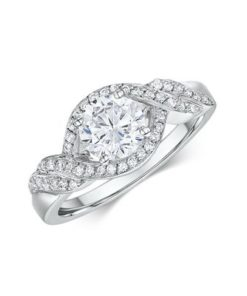 14k White Gold Engagement Ring .22ct