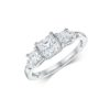 14k White Gold Princess Cut Diamond Ring .86 ct Diamond Quality: 3 Princess Cut Diamonds SI G/H 2 Round Cut Diamonds I G/H Size: 7 Width: 1.50 mm This Ladies Ring is available in 10k, 14k, 18k, Platinum and Comes in all sizes and widths. The Price may vary when changes are made. For More Information Please Call (888) 499 - 8800 or Email Info@MaddaloniJewelers.com