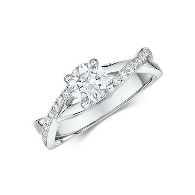 14k White Gold Diamond Engagement Ring .24 ct