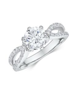 14k White Gold Diamond Engagement Ring Featuring 46 Round Cut .010 ct Diamonds Total .46 ct (Center Stone Not Included)