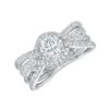 14k White Gold Diamond Engagement Ring featuring 96 Diamonds .48ct
