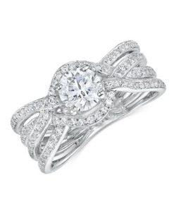 14k White Gold Diamond Engagement Ring featuring 96 Diamonds .48ct