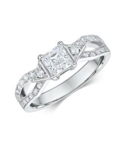 14k White Gold Diamond Engagement Ring .32ct
