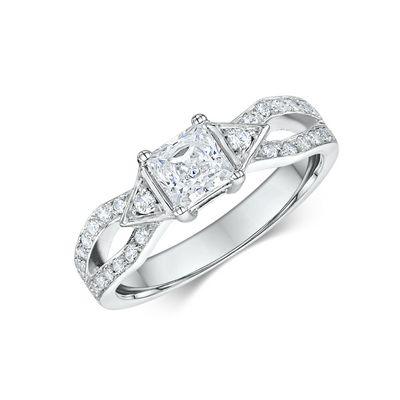 14k White Gold Diamond Engagement Ring .32ct