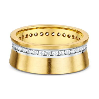 This 14k Yellow Gold Diamond Eternity band Features 35 Round Cut Diamonds 0.020ct