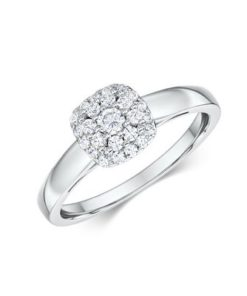 14k Diamond Cluster Engagement Ring Featuring 25 Round Diamonds 0.103 carat