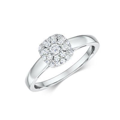 14k Diamond Cluster Engagement Ring Featuring 25 Round Diamonds 0.103 carat