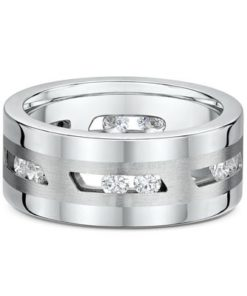 14k White Gold Diamond Mens Ring features 12 .085 Round Cut Diamonds. Total 1.02 ct