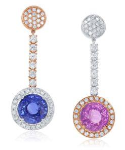 18k Pink and Blue Sapphire Drop Earrings Maddaloni Jewelers