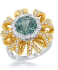 18k White and Yellow Gold Greenish Blue Sapphire and Diamond Ring featuring .82ct of diamonds and 3.53ct of Sapphire Maddaloni Jewelers