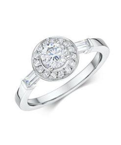 14k White Gold Diamond Engagement Ring .89 ct