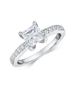 14k White Gold Engagement Ring Featuring 14 .015ct diamonds totaling 0.21 ct