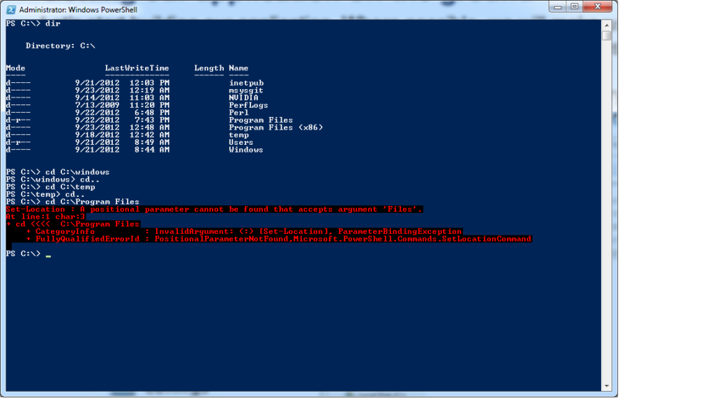 Windows Powershell doesn't accept target paths with spaces