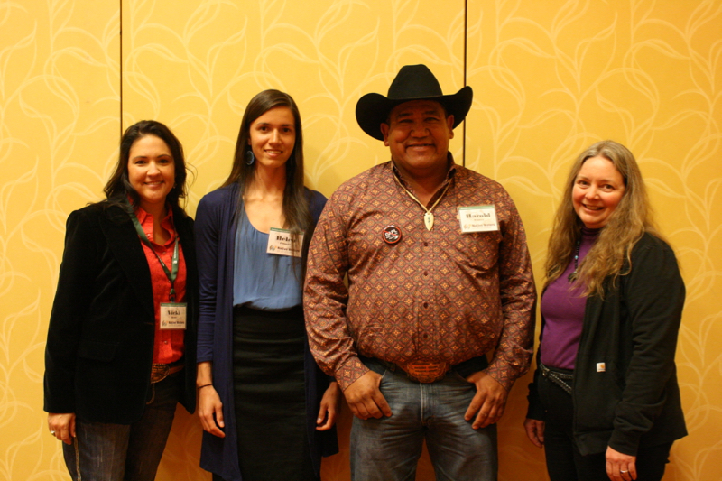 Left to right: Vicki Hebb, Helen Filmore, Harold Frazier (Chairman of Cheyenne River Sioux) and Maureen McCarthy at the 2016 Tribal Summit.