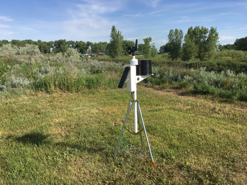The new weather station was installed near the community garden at Aaniiih Nakoda College