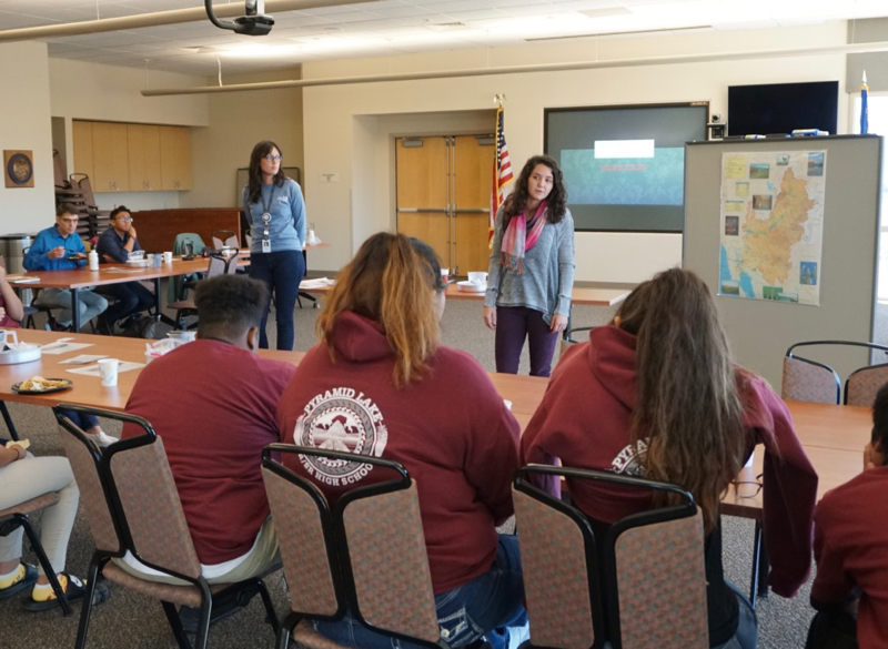 DRI Science Alive team members Brooke Stathis and Chelsea Ontiveros lead an activity at DRI Youth Day. Oct 15, 2018.