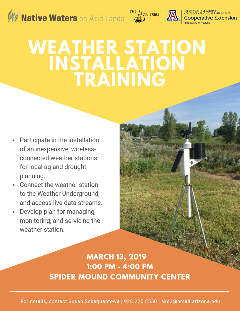 Flyer for weather station installation training