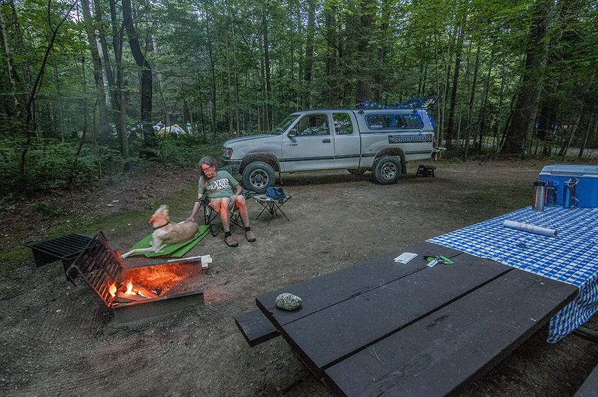 Our campsite, ruff, I like campfires!