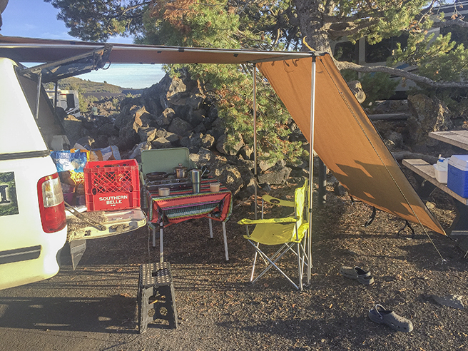 Our camp set-up at Craters of the Moon National Monument.