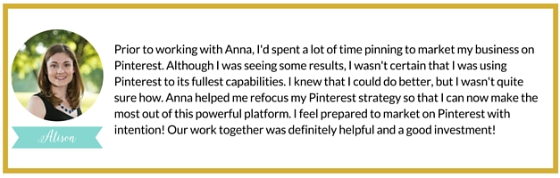 Pinterest Expert Anna Bennett | White Glove Social Media Marketing Testimonial