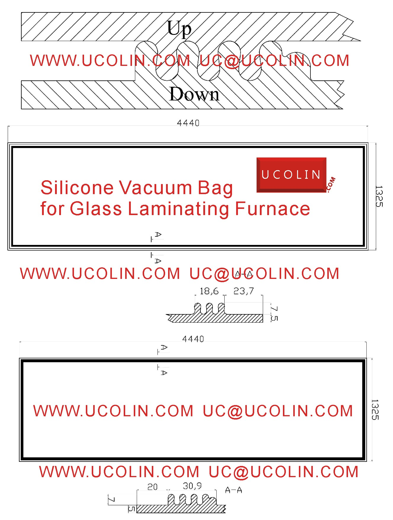 Draft of Silicone Vacuum Bag for Glass Laminating Furnace
