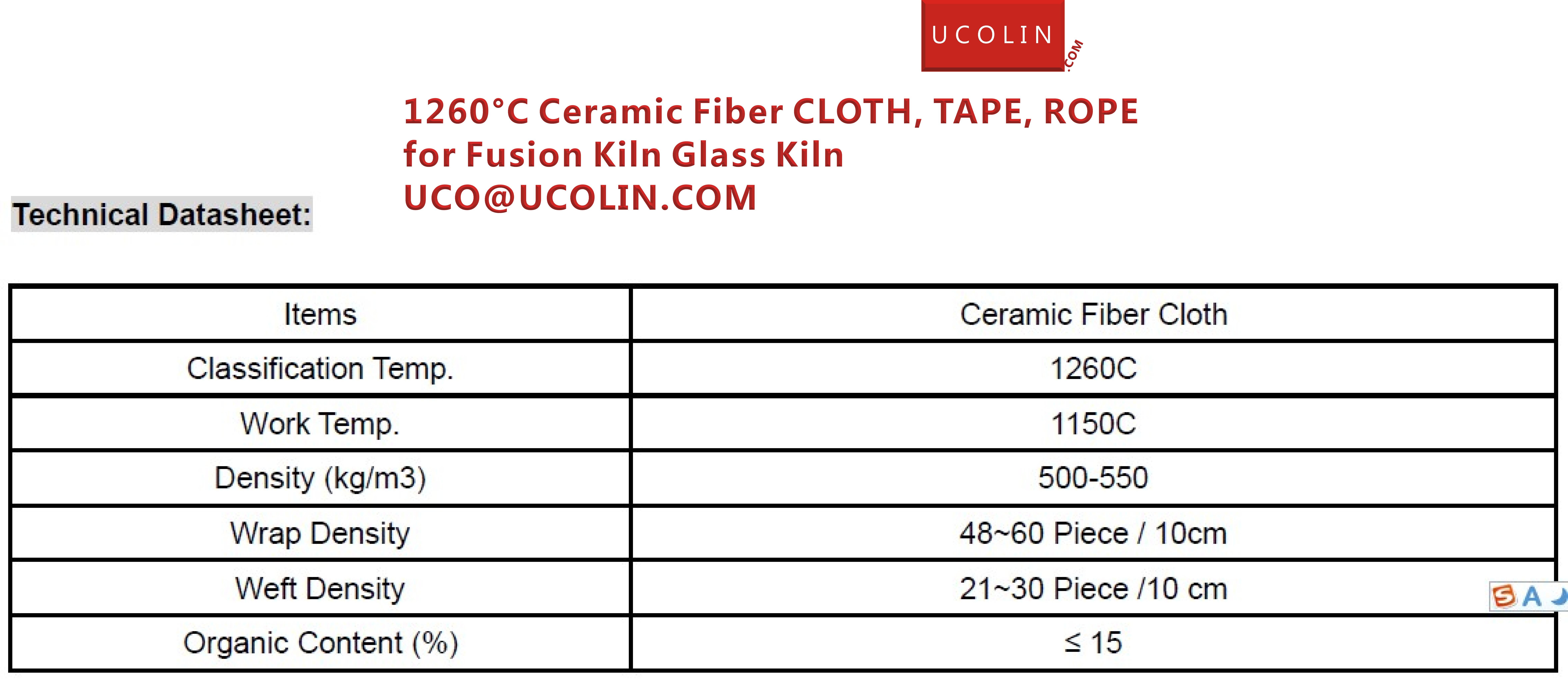 02  1260°C Ceramic Fiber CLOTH, TAPE, ROPE for Fusion Kiln Glass Kiln