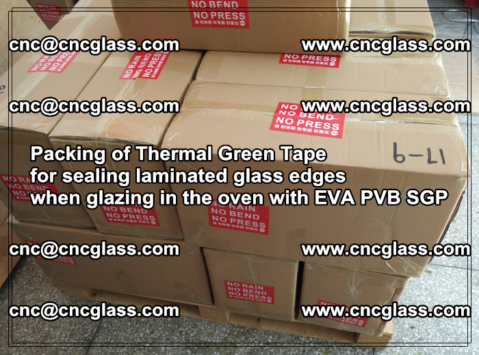 Packing of Thermal Green Tape for sealing laminated glass edges (82)