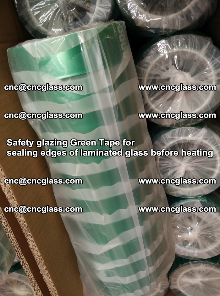 Safety glazing Green Tape for seal edges of laminated glass before heating (57)