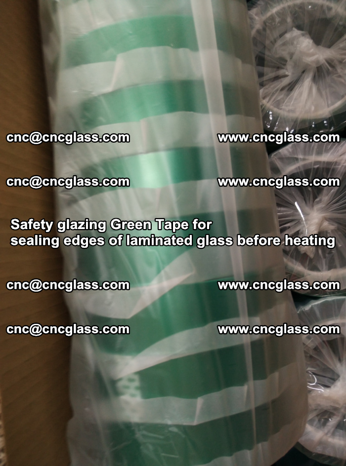 Safety glazing Green Tape for seal edges of laminated glass before heating (61)