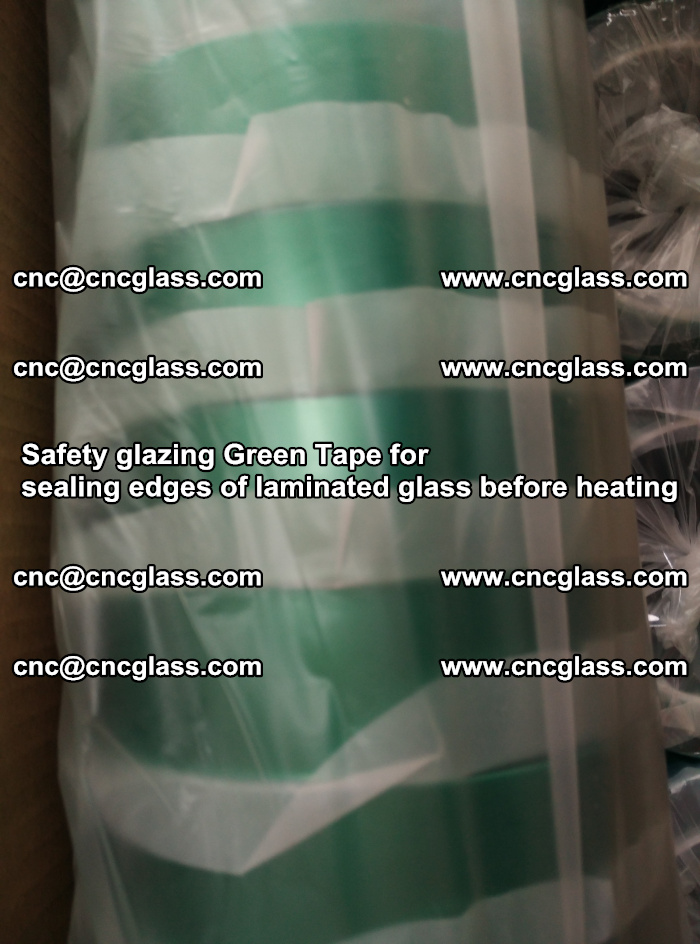 Safety glazing Green Tape for seal edges of laminated glass before heating (64)