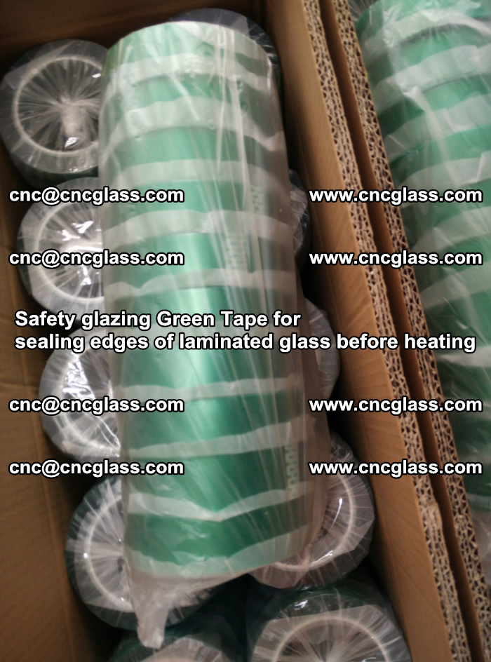 Safety glazing Green Tape for seal edges of laminated glass before heating (74)