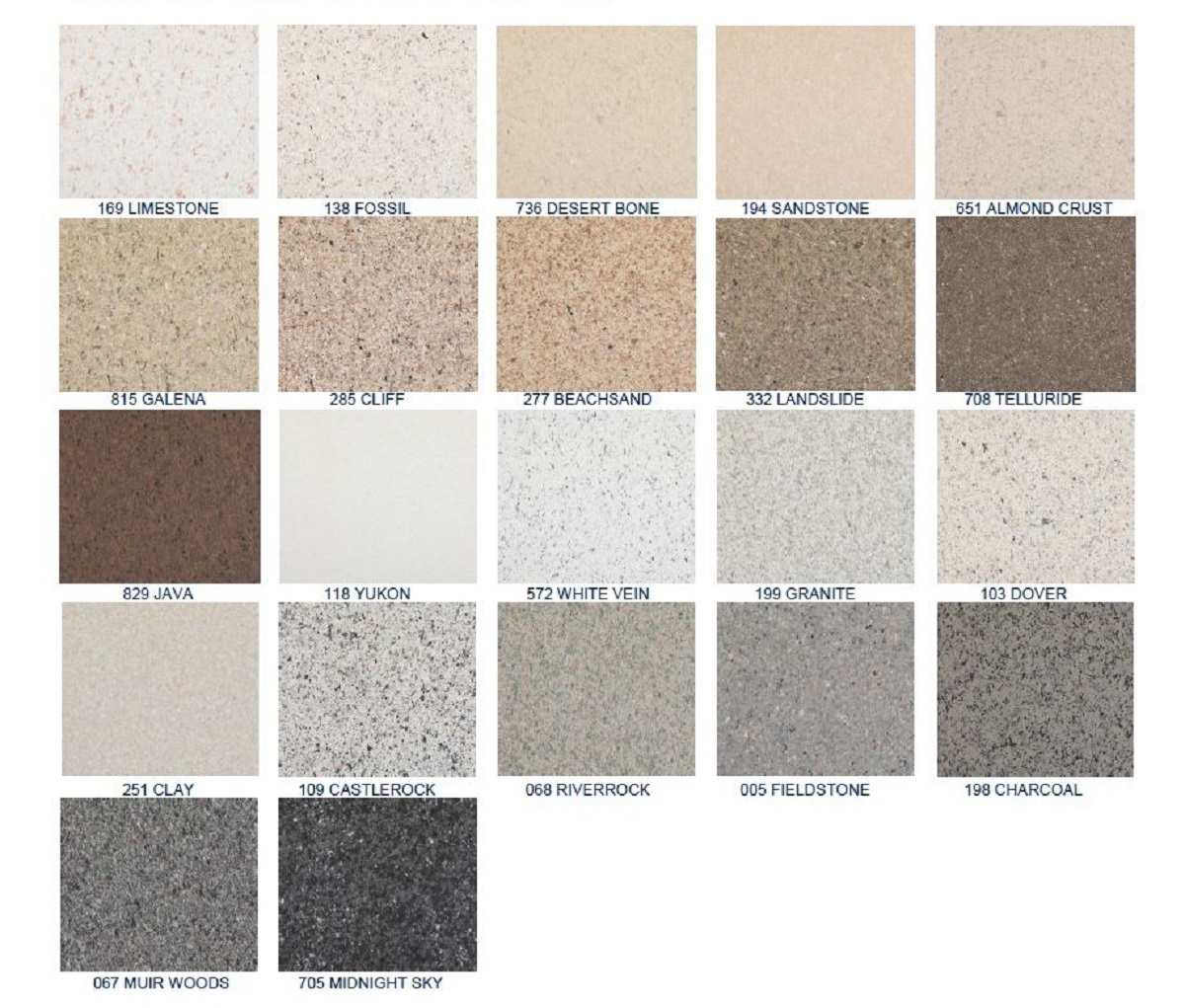 Stone Fleck Color Samples