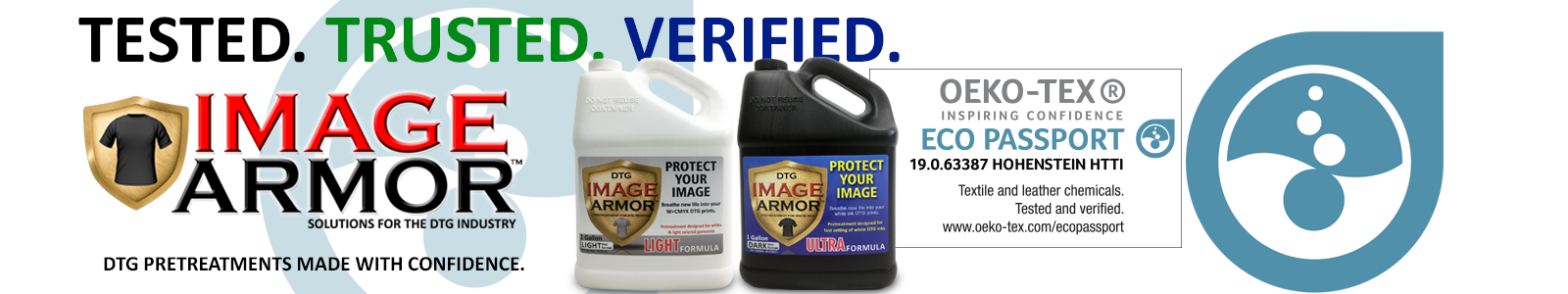 Image Armor DTG Pretreatments Oeko-Tex Certified