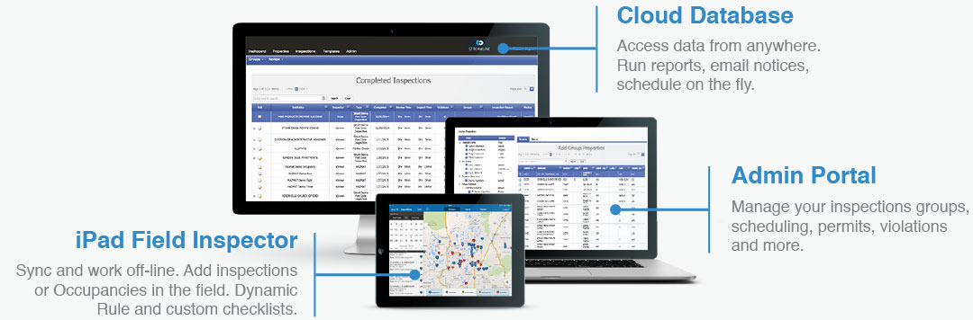 Cloud Database, iPad field Inspector and a simple to use admin portal make inspections simple.