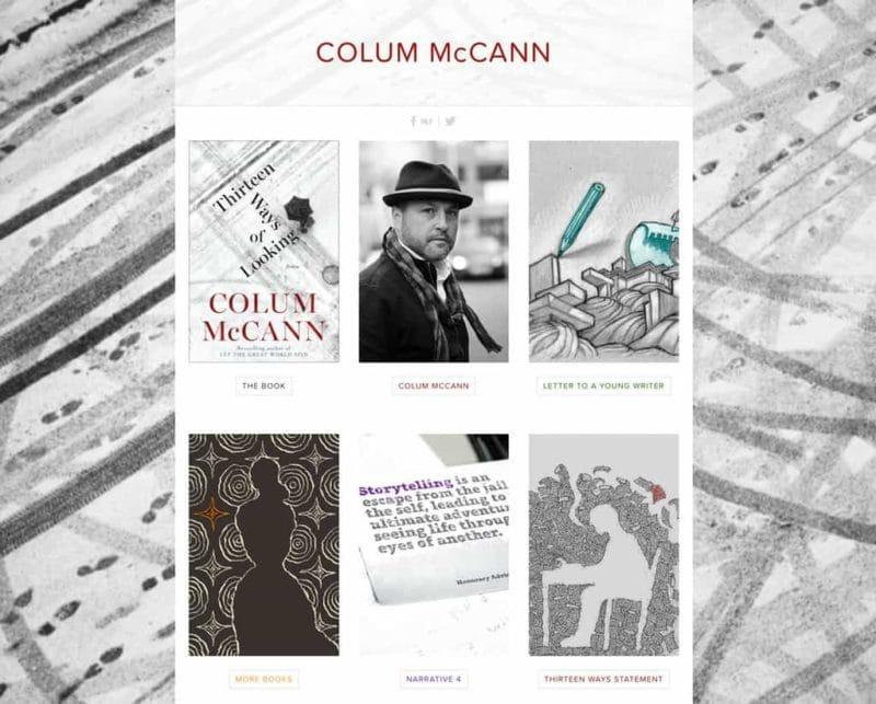 Colum McCann author website design by Adrian Kinloch