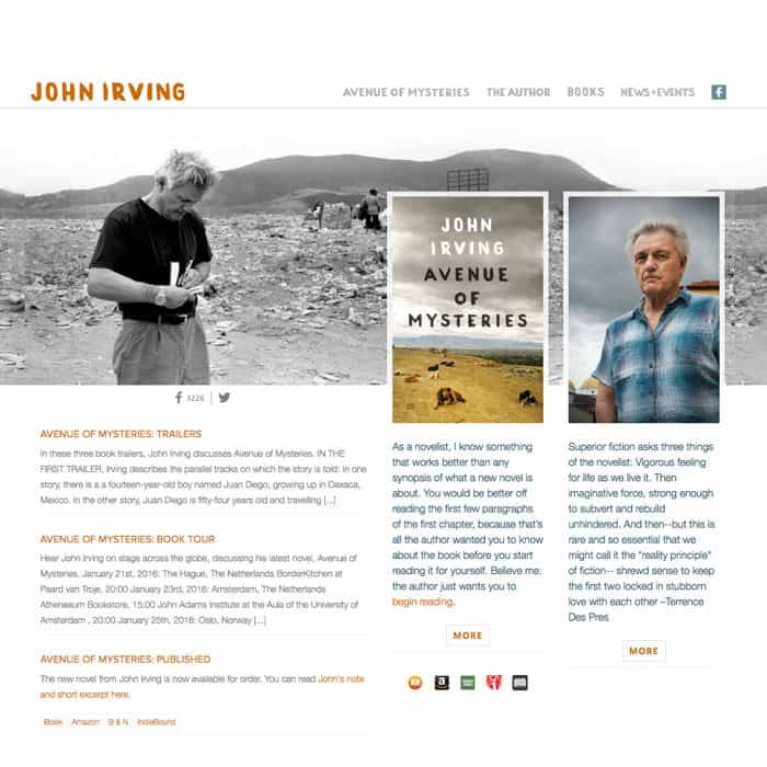 John Irving author website and archive design