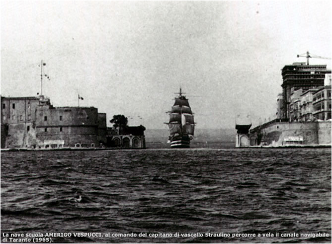 Agostino Straulino e l'uscita del vespucci a vela da Taranto