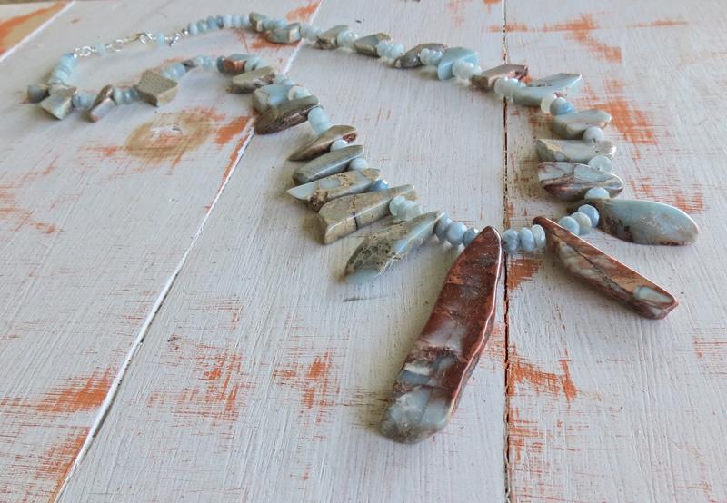 Aqua Marine and Stone Necklace
