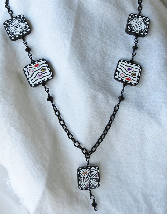 Black and White Op Art Necklace