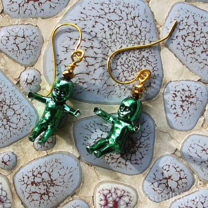 Green King Baby Earrings