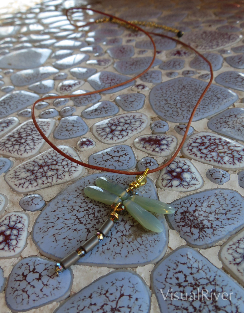 Dragonfly Necklace with Sea Green Opaline Wings